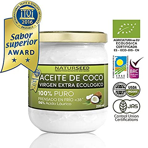 Huile de coco extra vierge bio 220 ml , Naturseed, ebook gratuit . Extraction à froid , source d'énergie naturelle pour les athlètes , la perte de poids , complément alimentaire , pour la cuisine , comme une crème hydratante pour vous et votre bébé , cheveux, aussi pour votre chien et le chat