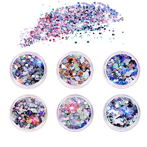 6 Stück Glitzer Make Up Set,Nagel Pailletten,Unregelmäßige Pailletten, Masquerade, Halloween, Party, Weihnachten, Kunst Handwerk, Körperglitzer, Glitzerpulver, Glitzer Sequin, Chunky Glitter