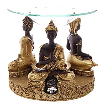 Gold & Brown Thai Buddha Oil Burner with Glass Mosaic Detail