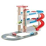 Unbekannt Holz-Parkhaus mit 3 Ebenen Spielstraße Aufzug und Autos • Holz Parkgarage Spielstrasse Autogarage Spielzeug Auto Parkhaus