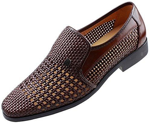 Männer Sommer Hohl Sandalen Derby Schuhe Business Casual Schuhe Handgewebte Atmungsaktiv,Brown-44EU