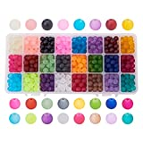 Pandahall 1caja (aproximadamente 480) 24Color 8mm perlas de cristal esmerilado Transparente Redondo Surtido Kits para joyería Making; agujero: 1.3~ 1,6mm
