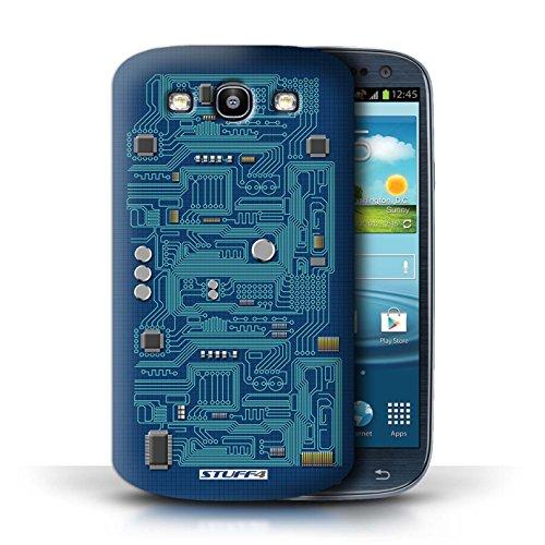 Kobalt® Imprimé Etui / Coque pour Samsung Galaxy S3/SIII / Vert conception / Série Circuit Board Bleu