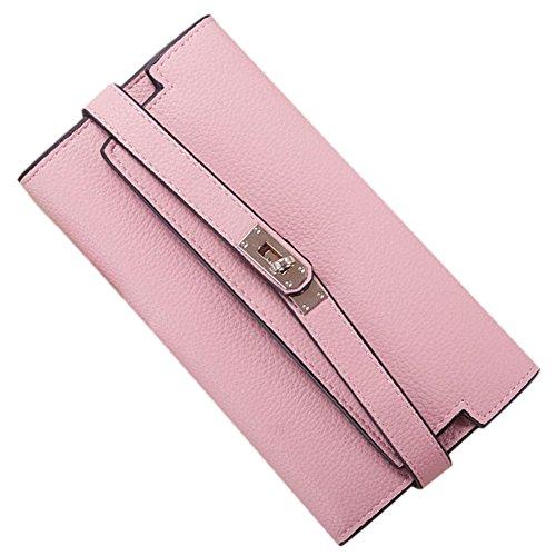 Grande capacità del cuoio PU delle donne con il Supporto per le carte da credito con Cerniera con Fibbia Frizione Borsetta Grigio chiaro Rosa scuro