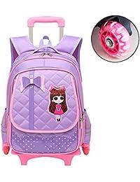 Preisvergleich für Jia He Kinder Kinder Trolley Bag - Wasserdichte Kinder Rolling Rucksack mit Rädern, Princess Style Hand Wheeled...