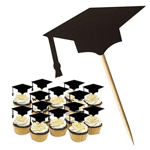 (BIEE Abschlussfeier Kuchen Dekorationen Abschlussfeier Kappe Kuchen Topper, 2018 Graduation Decor 20pcs (mit Zahnstocher, schwarz))