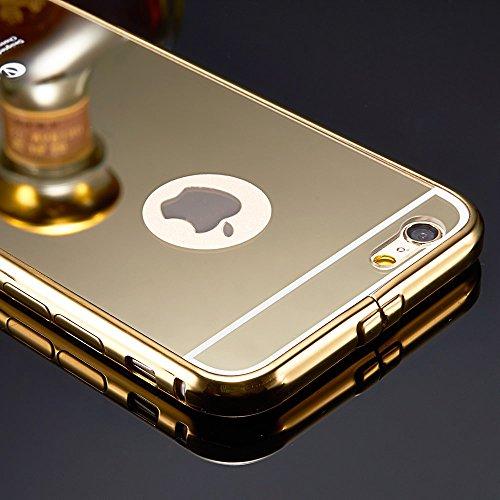 Lusso ultra-sottile in alluminio a specchio per iPhone 5/5S/6/6Plus/6S/6S Plus, METALLO, Gold, iPhone 6
