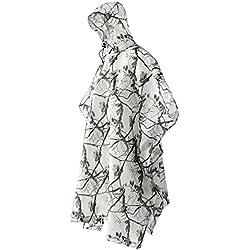3 en 1 Poncho Multifonction Pluie Manteau Neige Imperméable Tapis de Sol Tente Abri pour Chasse Camping Camouflage