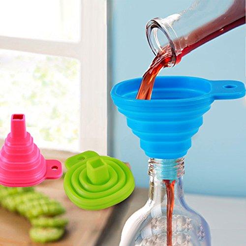 aliciashouse 2pcs silicone imbuto pieghevole Mini riempimento liquidi acqua olio