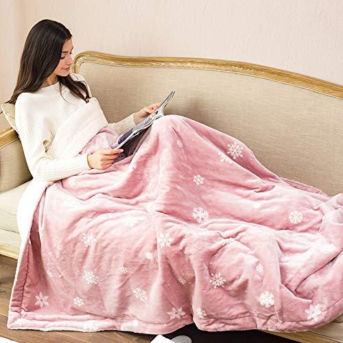 Authda Plüsch Heizdecke mit Abschaltautomatik Überhitzungsschutz mit 3 Temperaturstufen Wärmeunterbett Waschbar Heizdecken fürs Bett/Sofa Wärmedecken (180 x 150 cm - 45W, Pink)