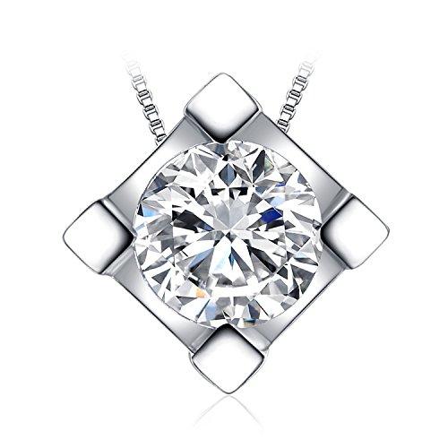 JewelryPalace Donna Gioiello 0.6ct Cubic Zirconia Sintetico Quadrata Ciondolo Collana con Pendente Catena 45cm Argento Sterling 925