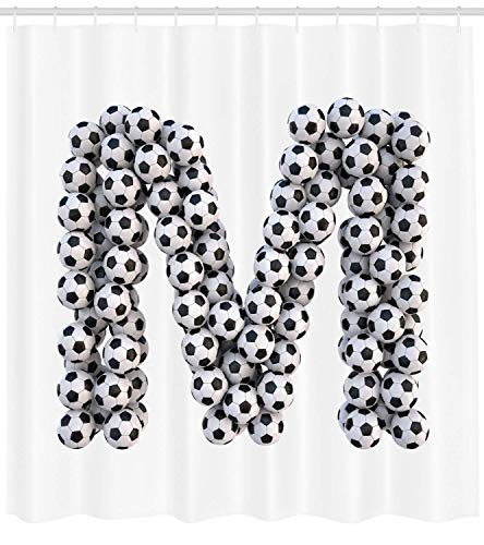 XIAOYI Letter M Shower Curtain, Diagonal and Vertical Stack of Soccer Balls Alphabet Letter M Symbol Design, Cloth Fabric Bathroom Decor Set with Hooks, 60x72 Inches, Black and White -