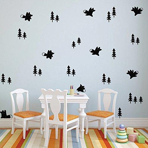 Schwarz Hall-baum (58Stück Sticker Wand Dekoration Nordica: 10Füchse und 48Bäume schwarz für Kinder Schlafzimmer Wohnzimmer Hall von Open Buy)