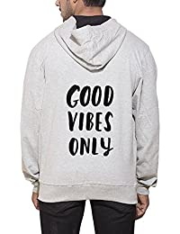 Clifton Men's Printed Sweat Shirt With Hood -Grey Melange -Good Vibes Only-B