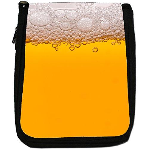 Everyone Loves Pub alcol birra-Borsa a tracolla in tela, colore: nero, taglia: M Nero (Clear Yellow Beer With Foam)
