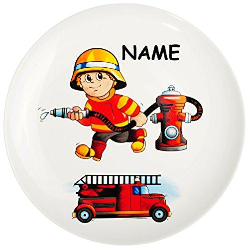 alles-meine.de GmbH großer Teller - Kinderteller -  Feuerwehr - Feuerwehrmann & Feuerwehrauto  - inkl. Name - Ø 21 cm - aus Porzellan / Keramik - Speiseteller / Frühstückstelle..