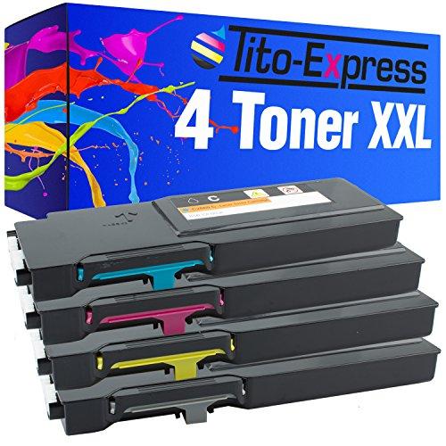 Tito-Express PlatinumSerie 4 Toner XXL kompatibel mit Dell C2660 C2660DN C2665DNF | 593-BBBU 593-BBBT 593-BBBS 593-BBBR | Black 6.000 Seiten, Color je 4.000 Seiten -