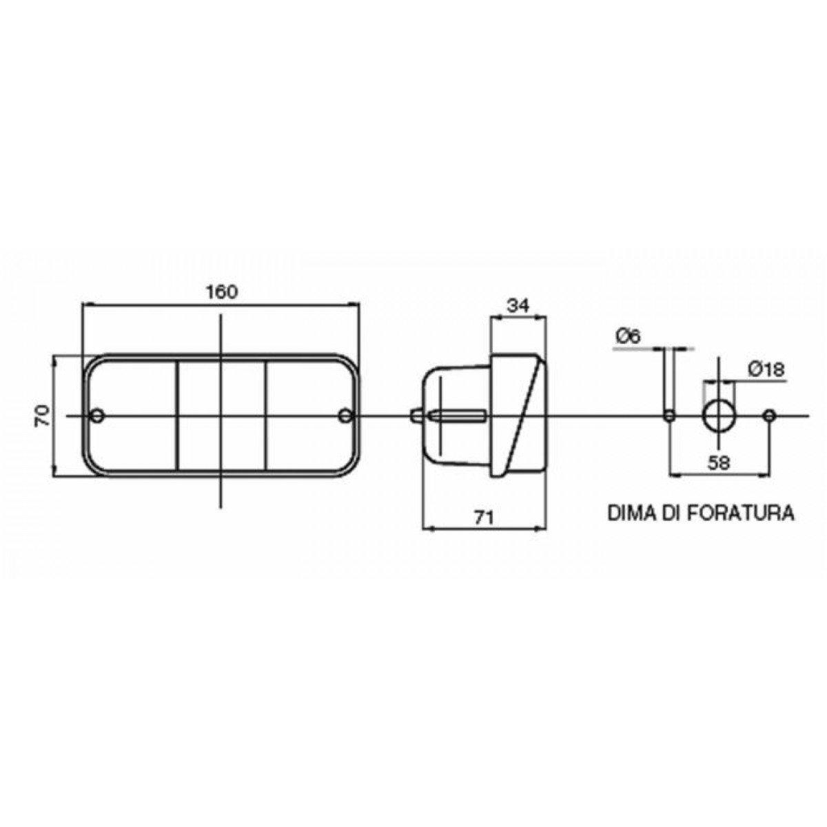 Blocchi fari posteriori Fanale posteriore alogeno Dx 162x70 mm di Ama Luci, lampadine e indicatori