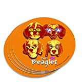 The Beagles Untersetzer mit Sonnenbrille, Vintage-Retro-Design