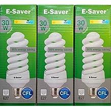 Confezione da 3, 6, e-saver CFL a spirale, 30W = 150Watt, lampade fluorescenti compatte, Daylight, e27 24.00 wattsW 240.00 voltsV