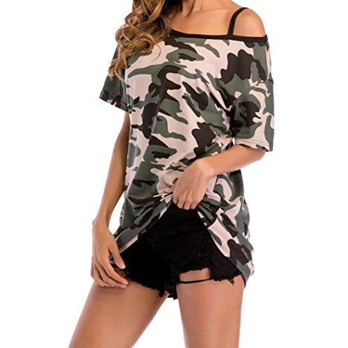 ESAILQ Damen Rundhals Kurzarm T-Shirt Tops mit Allover Anker Print Frauen Casual Druck T-Shirt(XL,Grün)