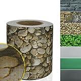 Sichtschutzstreifen PVC | Sichtschutzfolie für den Gartenzaun oder Balkon | inkl. 20 Befestigungsclips | für Einzel- und Doppelstabmatten geeignet | 19 cm x 35 m | einfarbig oder mit Motiv | Kies-Optik
