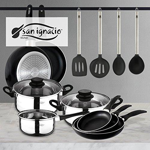 Set San Ignacio: Juego de tres sartenes + Batería de cocina 5 piezas + Juego de utensilios de cocina (Juego De Cocina)