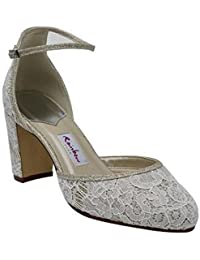 f6bf57b9b76a Rainbow Club Lavinia - Silver Shimmer and Ivory Lace Block Heel Wedding  Shoes