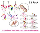 Unicorn Key Chains Bracelets Wristband Emoji Slap,DavonArt Unicorn Birthday Party Favors Supplies for Kids Girls, Emoticons Smiley Face Gifts, Rubber Band Bracelet (32 Pack Unicorn(20bracelet+12keychain))
