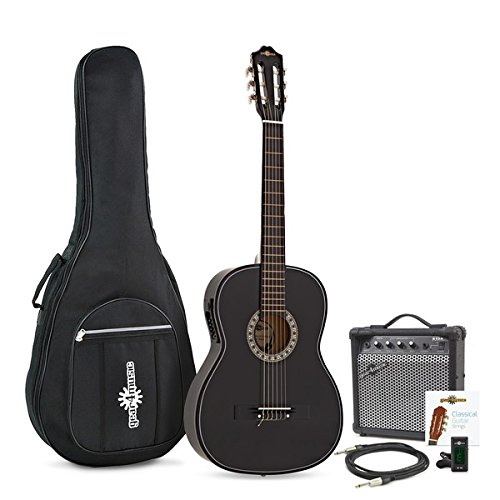 Classical Electro Acoustic Guitar Black by Gear4music + Amp Pack