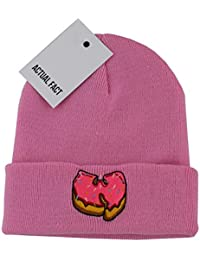 ac719722684 Actual Fact Wu Tang x Pink Donut Embroidered Winter Hip Hop Roll Up Pink  Wooly Beanie
