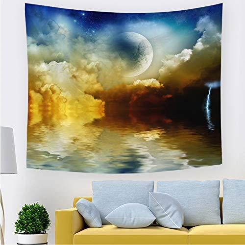 ZLZYY Tinte Landschaft Hause Tapisserie malerei großen Baum Planeten Schlafzimmer Kinder Wohnzimmer Hintergrund wandverkleidung 211813 150 * 130 cm dünn