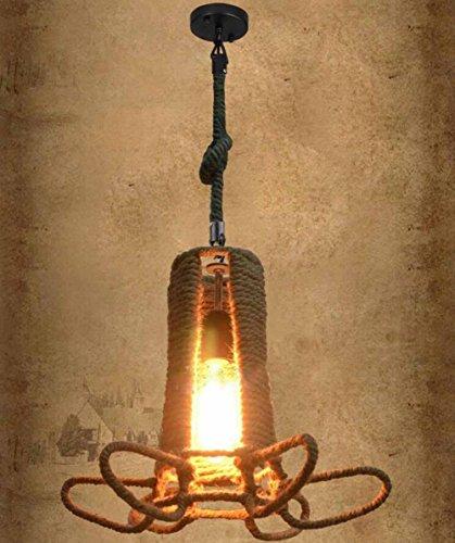 Suspensions Rétro style industriel Loft personnalité Hot Wheels Corde de chanvre et lumières pendentif en fer pour Café, Magasin de vêtements, Bar, Restaurant