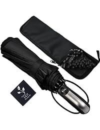 Paraguas, paraguas de viaje plegable automático a prueba de viento con Auto Abrir y cerrar por lcz (Negro)
