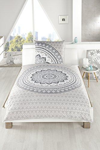Bettwäsche Set MANDALA, aus 100% Baumwolle MAKO-Satin mit Reißverschluss, Kissen Bettdecke Bezug Ornamente (schwarz/ weiß) (Satin-bett-kissen)