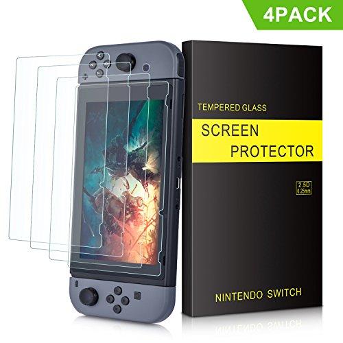 Nintendo Switch Schutzfolie - SURWELL Nintendo Switch Panzerglas [4-Pack] [0.24mm] [9H Härte] [Kristall-klar] für Nintendo Switch 2017