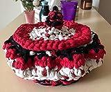 Panier Corbeille Artisanal de Rangements (bébé) Décoration Cadeaux de Noel pour Femme Panier de fleurs au crochet en Trapillo Rond Organisateur d'articles de bébé Couleurs aux choix
