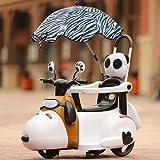 MEILA Kind elektrische Motorrad elektrische Fahrrad Dreirad 1-3-5 Jahre alt Trolley Baby Lade spielzeugauto sitzen mit geländer (Color : White with Umbrella)