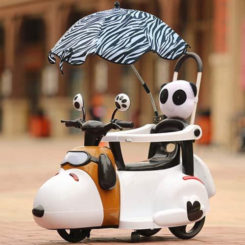 MEILA Kind elektrische Motorrad elektrische Fahrrad Dreirad 1-3-5 Jahre alt Trolley Baby Lade spielzeugauto sitzen mit geländer (Color : White with Umbrella) - Fünf Puppen Jahr Alt Für