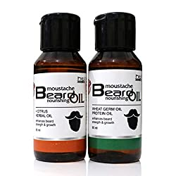 Moustache & Beard oil Pack of Two ( Citrus Herbal and Wheat Germ Oil )