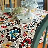 HaoCH Vintage Baumwolle Leinen Rechteckige Tischdecke Küche Restaurant Tischdecke Spitze Sonnenblume Tischdecke Set Staubdicht Wasserdicht Schwergewicht Stoff Deko Tischdecke, 140x220cm (55x87 inch) - 3