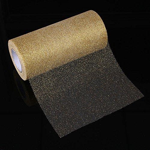 (TOPmountain Schimmernde Powder Tulle Roll 1 Stück Funkelnde Tulle Ribbon Roll Glitter Tüll für Party Hochzeitsdeko Gold)