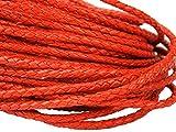 esnado Lederschnur Rund Geflochten 3 mm. Orange 5 m - Länge: wählbar