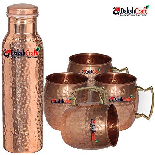 DakshCraft ® rame comune libero martellato bottiglia & Copper Barrel
