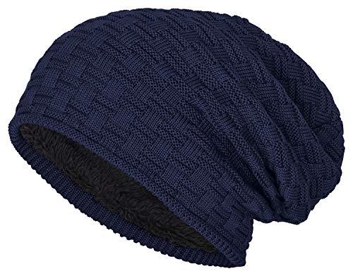 Long Slouch Langes Beanie mit Teddyfleece für Damen und Herren, Sommer und Winter, Beaniemütze - Bleib warm und stylisch (Navy) -