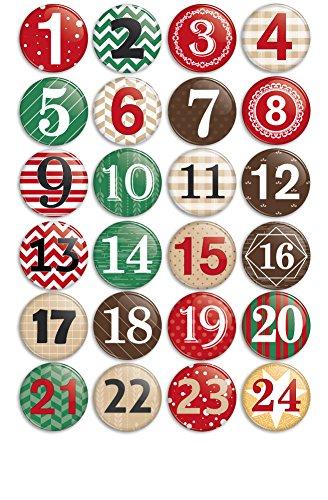 Werbewas 24er Set Advents-Buttons für eigene Adventskalender Idee - Zum basteln oder verschenken (38mm) Adventszahlen Motiv 2