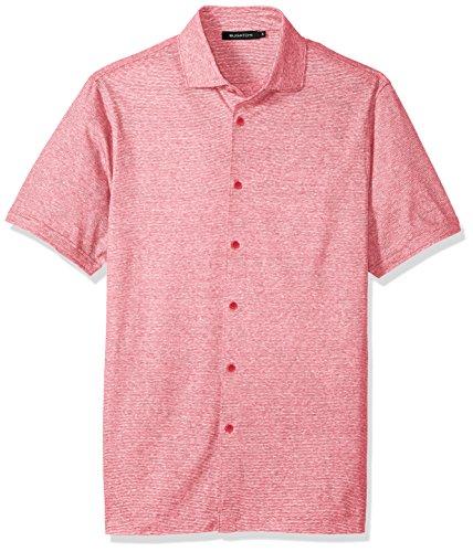 Bugatchi Men's Trim Fit Lightweight Button Down Knit Shirt, Cherry, M - Trim Fit Shirt