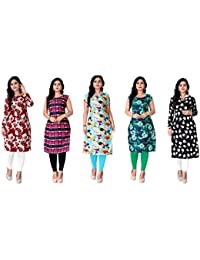 Kesari King Women's A-Line Crepe Printed Semi-Stitched Kurti Material (1024,25,38,53,57, Multicolour, Free Size) Pack of 5