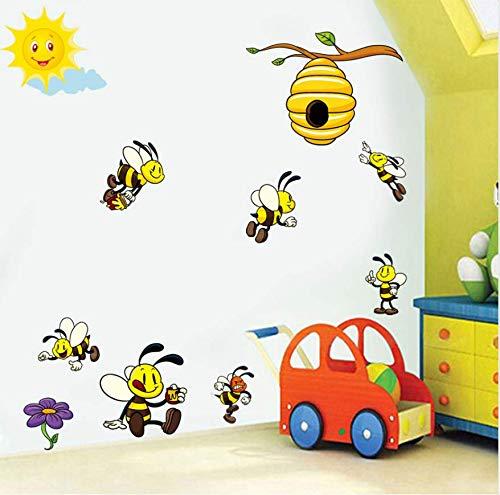 xutongrui Nette Karikatur Biene 3D Wandaufkleber Für Kinderzimmer Dekoration Schöne Honey Bee Viny Wandkunst Aufkleber Wandbilder Diy Kindergarten Wohnkultur (Bee Dekorationen Honey)