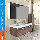 Doppel Waschbecken mit Unterschrank & Spiegelschrank / Farbe Walnuss / Modell Kema 1200 / Waschplatz / Komplettset / Badezimmer / Badmöbelset / Waschtisch / Spiegel